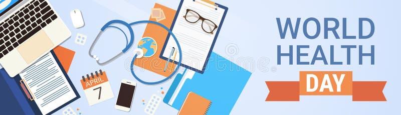 Concept de jour de santé du monde de médecin Workplace Top View illustration de vecteur