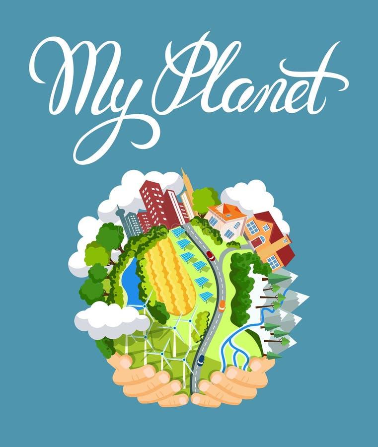 Concept de jour de terre Mains humaines tenant le globe de flottement dans l'espace illustration libre de droits