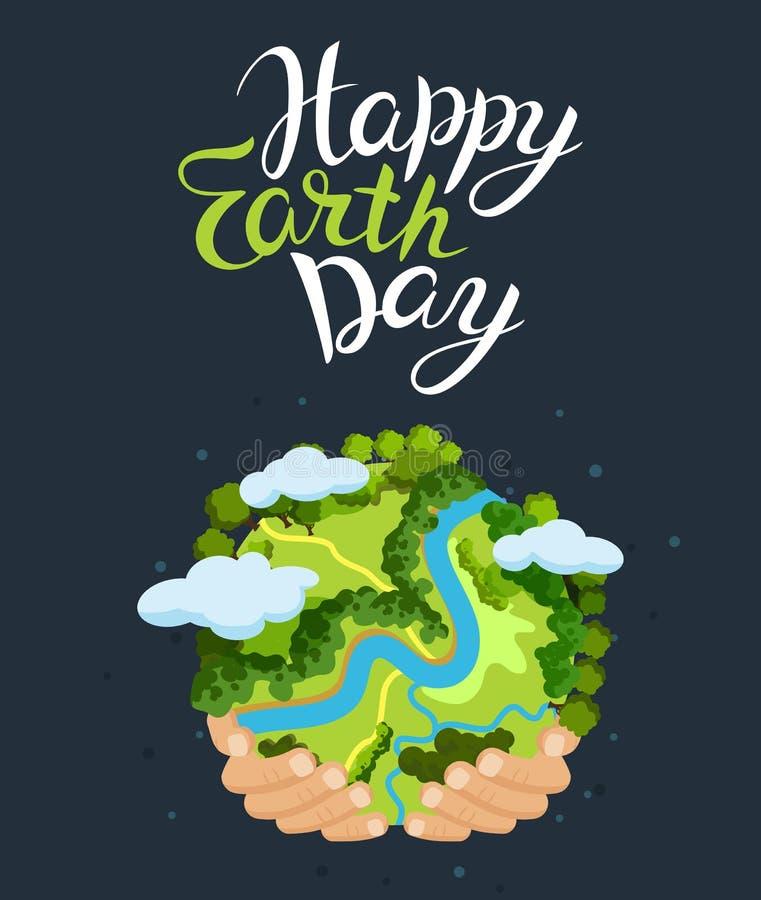 Concept de jour de terre Mains humaines tenant le globe de flottement dans l'espace Sauf notre planète Illustration plate de vect illustration stock