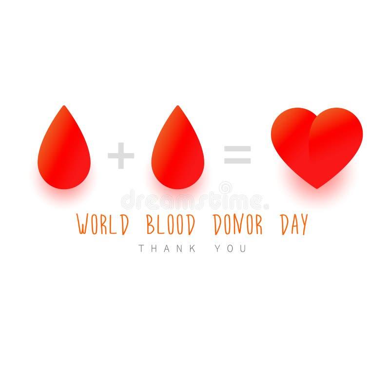 Concept de jour de donneur de sang du monde Baisse rouge, coeur, texte Concept de donation sur le backrond blanc illustration de vecteur