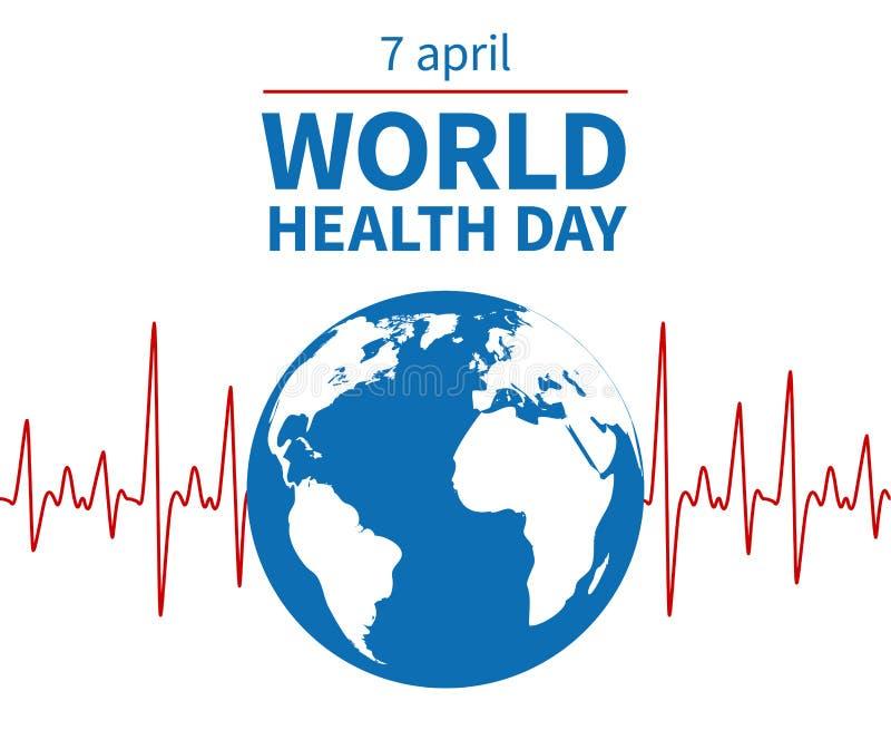 Concept de jour de santé du monde Bien-être, prévention médicale et jour d'assurance-maladie de profession Fond global de vecteur illustration stock