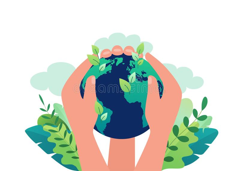 Concept de jour de terre de l'écologie propre de notre planète, énergie renouvelable Les mains tiennent la terre se fermante de g illustration libre de droits