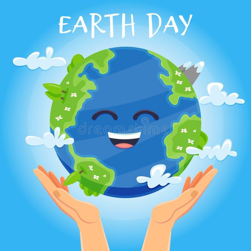 Concept de jour de terre Mains humaines tenant le globe de flottement dans l'espace Sauf notre planète illustration stock