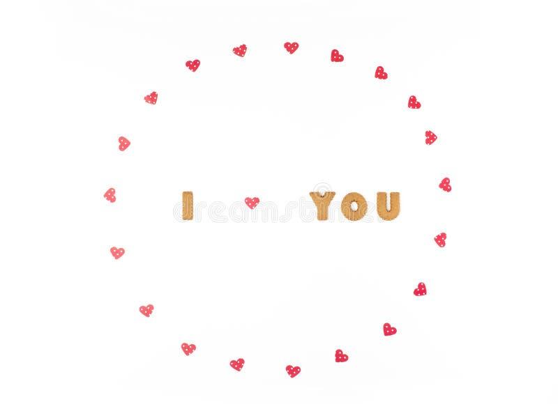 Concept de jour de Valentines Déclaration de l'amour, cadre fait de coeurs de papier Configuration plate, vue supérieure, fond bl photos stock