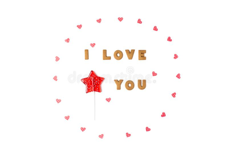 Concept de jour de Valentines Déclaration de l'amour, cadre fait de coeurs de papier, lucette en étoile de forme Configuration pl photo stock