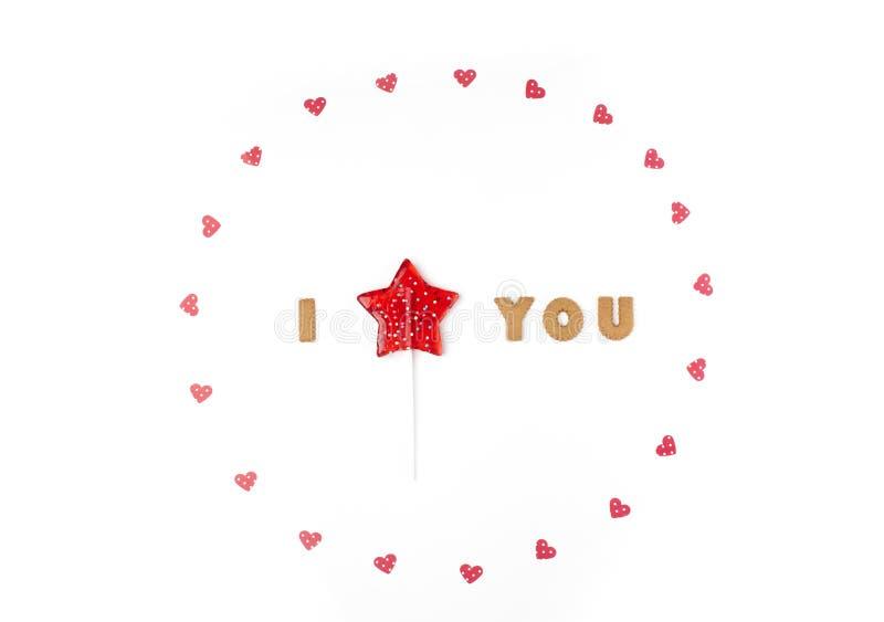 Concept de jour de Valentines Déclaration de l'amour, cadre fait de coeurs de papier, lucette en étoile de forme Configuration pl photos stock