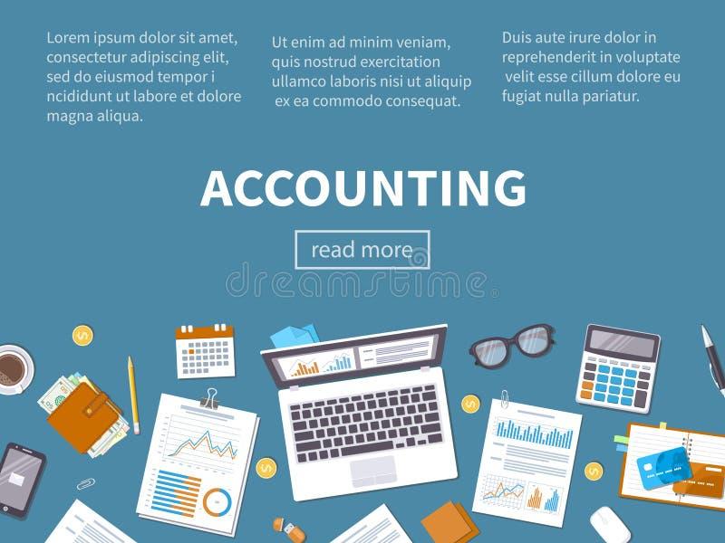 Concept de journalisation Analyse financière, analytics, planification d'analyse de données illustration stock