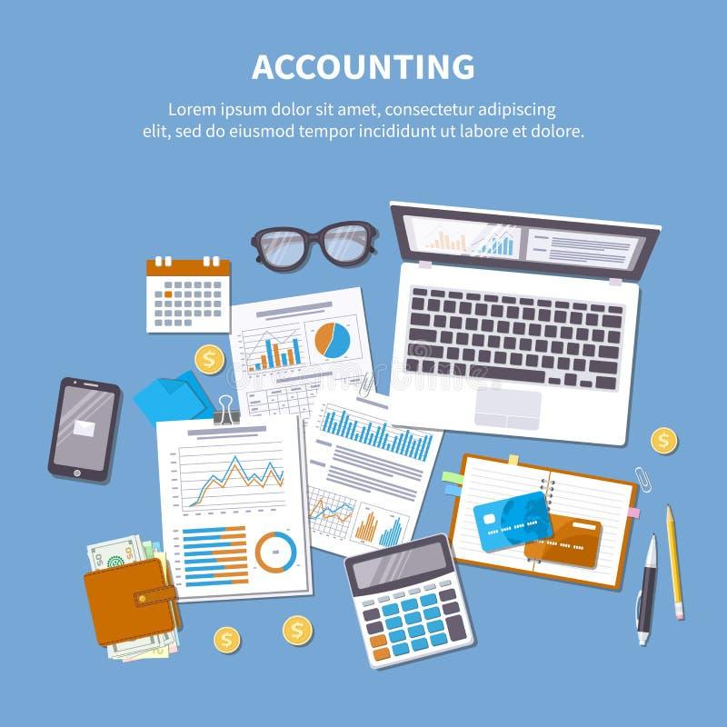 Concept de journalisation Analyse financière, paiement d'impôts illustration de vecteur