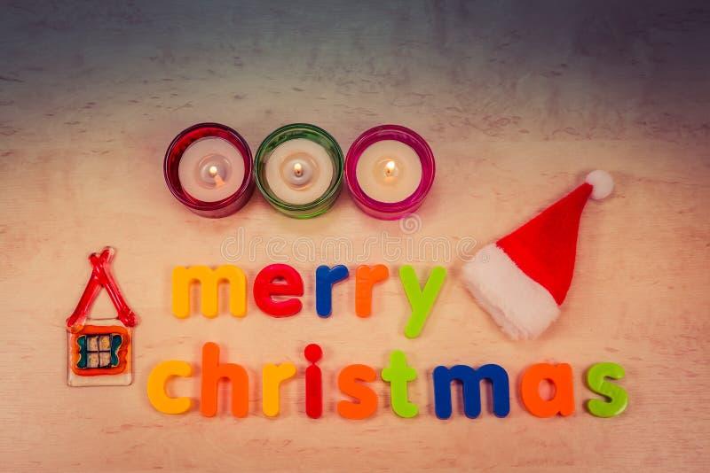 Concept de Joyeux Noël avec le texte sur le fond photo libre de droits
