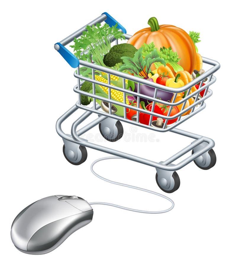 Concept de légumes d'épicerie de souris de chariot illustration de vecteur
