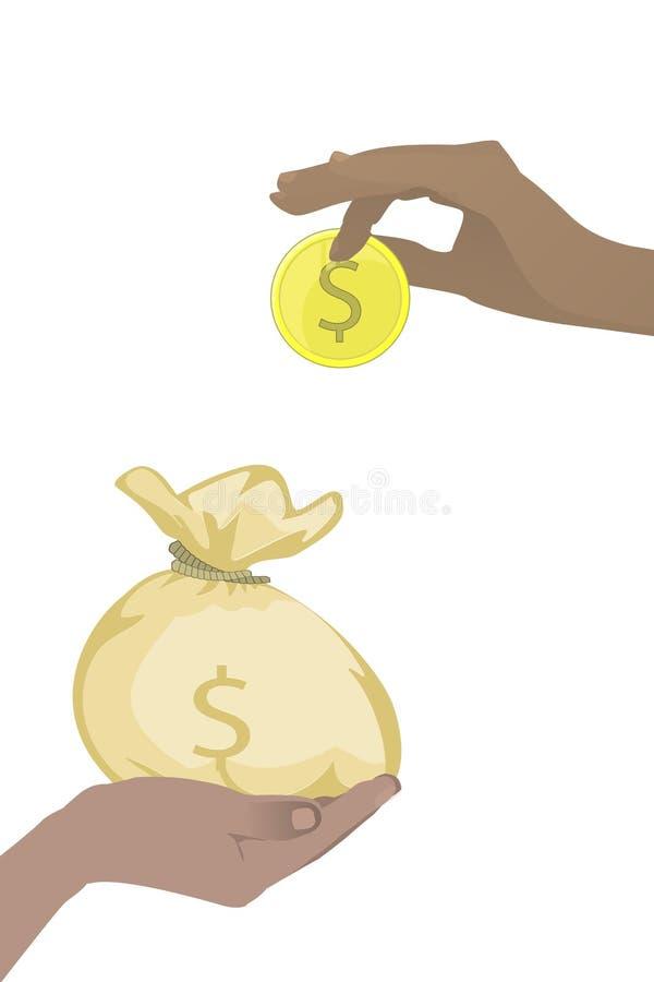 Concept de l'épargne de banque cotisation Mains illustration de vecteur