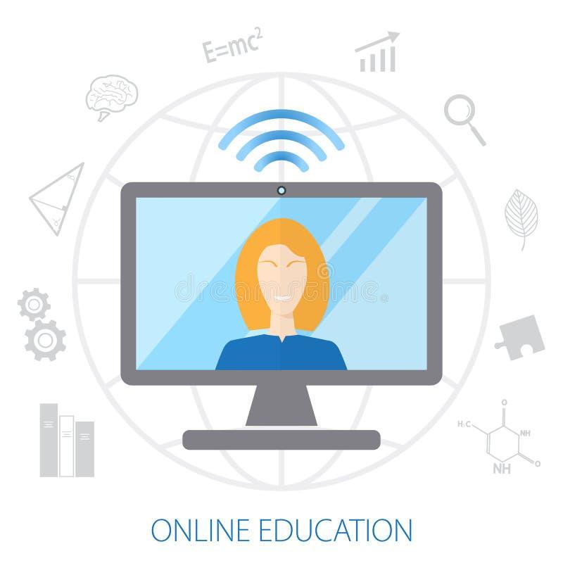 Concept de l'étude à distance L'entraîneur conduit la formation en ligne sur le fond de globe Placez les icônes de l'éducation illustration de vecteur