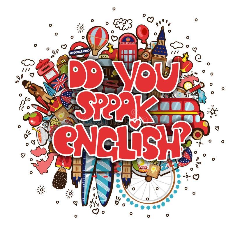 Concept de l'étude anglais ou du déplacement Des lettres vous parlez anglais avec l'ensemble d'icônes de l'Angleterre dans le bru illustration de vecteur
