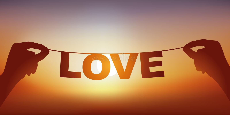 Concept de l'amour avec des mains tenant une bannière sur ce qui est écrit l'amour de mot photographie stock