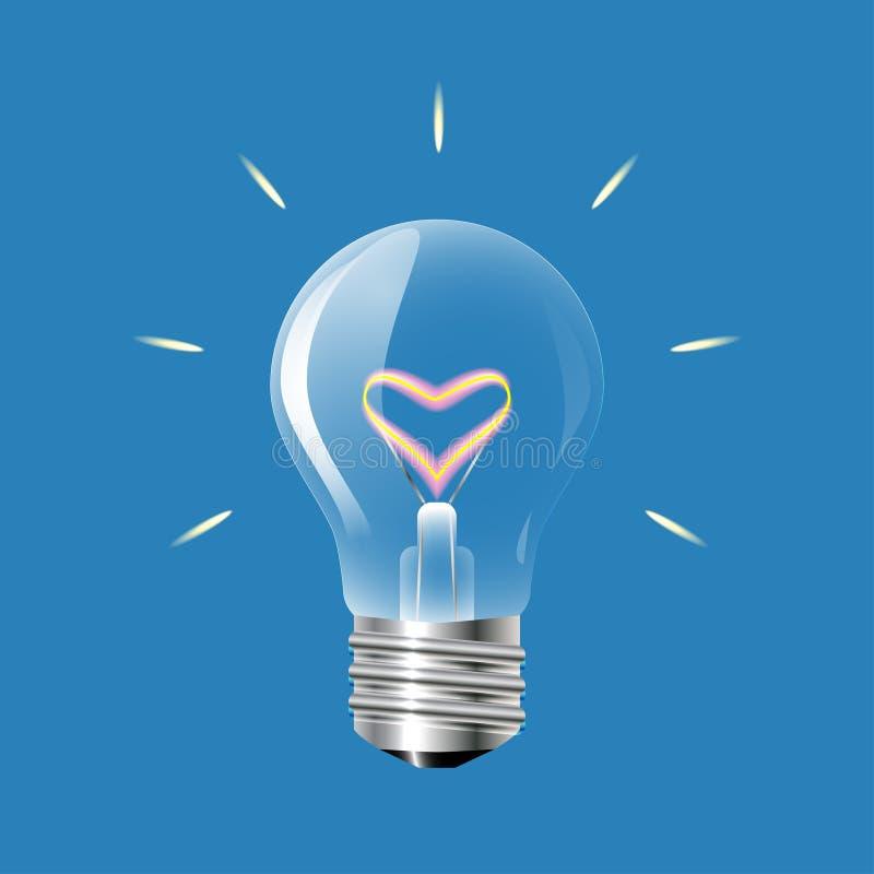 Concept de l'amour sous forme d'ampoule sur un fond bleu illustration de vecteur