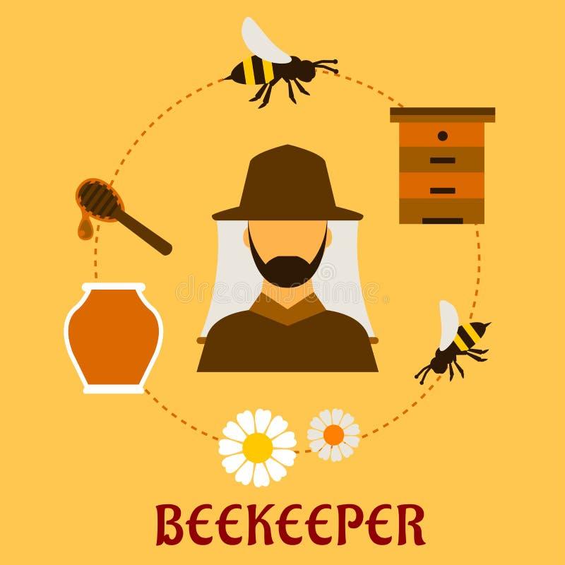 Concept de l'apiculture avec l'apiculture et l'apiculture illustration de vecteur
