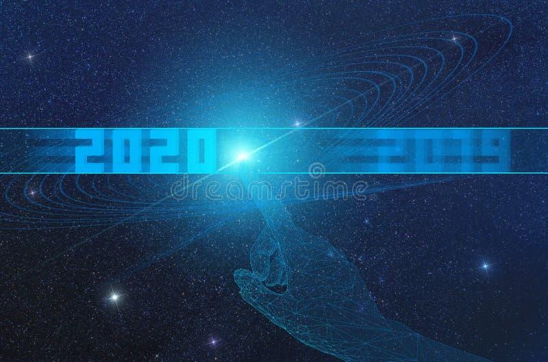 Concept de l'arrivée d'une nouvelle ère d'intelligence artificielle à partir de 2020 et de son impact sur l'univers illustration stock
