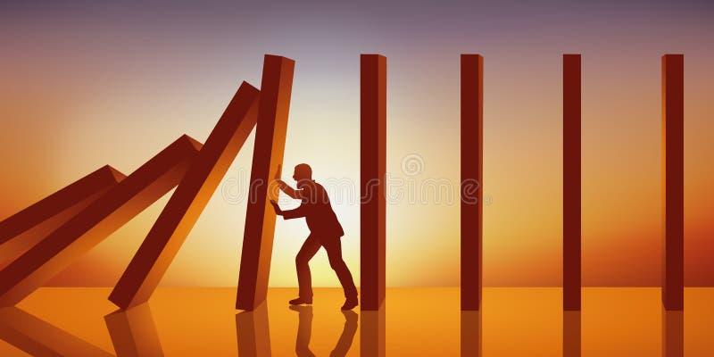 Concept de l'effet de domino avec un homme qui empêche des panneaux posés dans le dossier indien pour s'effondrer et pour causer  illustration stock