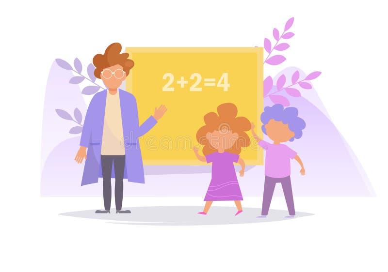 Concept de l'enseignement au vecteur d'école cartoon Art d'isolement sur le fond blanc Professeur et étudiant plats illustration de vecteur