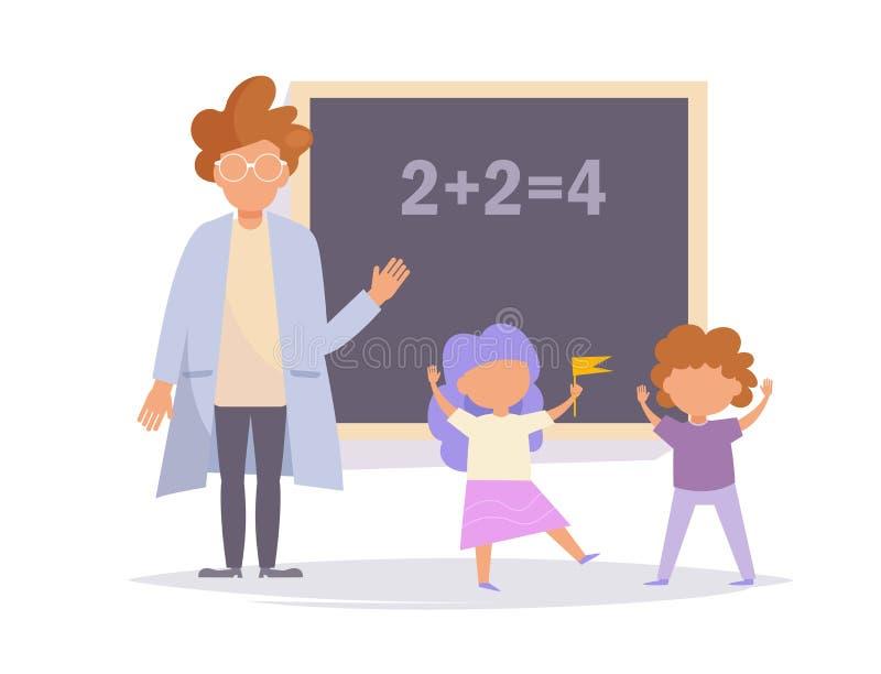 Concept de l'enseignement au vecteur d'école cartoon Art d'isolement sur le fond blanc Professeur et étudiant plats illustration stock