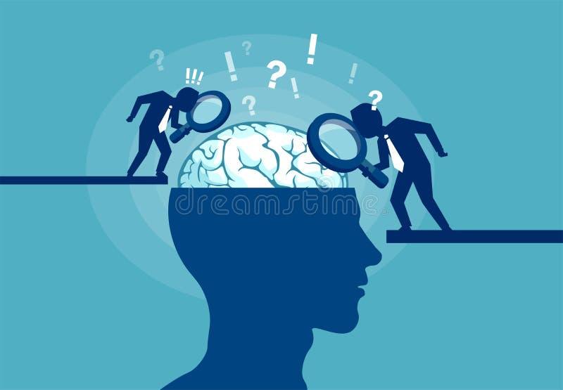 Concept de l'esprit humain l'explorant de scientifique illustration libre de droits