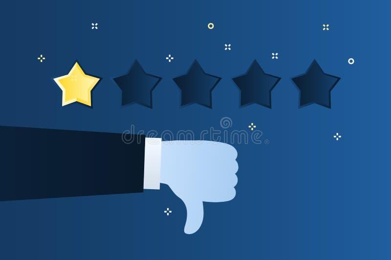 Concept de l'estimation Examen de client Une notation d'étoile Pouce vers le bas illustration stock