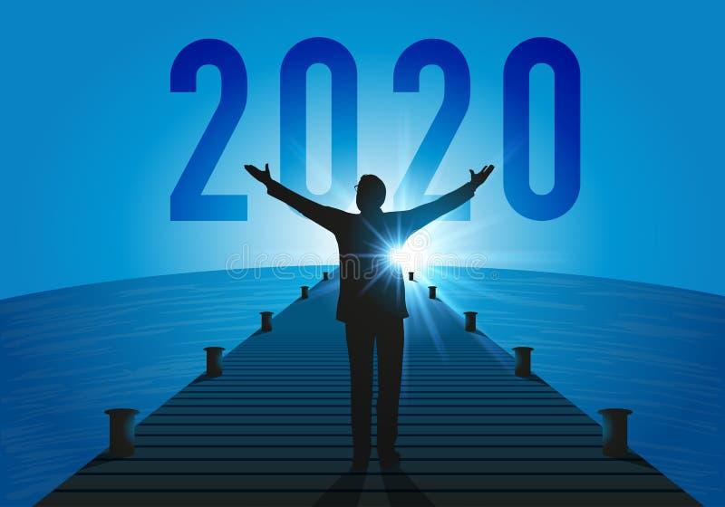 Concept de l'horizon qui s'illumine avec un homme qui ouvre ses bras jusqu'en 2020 illustration de vecteur