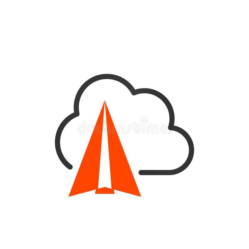 Concept de l'icône de réussite commerciale, vol plat orange en nuage à la cible Concept de démarrage idée créatrice Illustration  illustration de vecteur