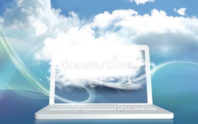 concept de l'illustration 3D avec le nuage de Digital sur l'ordinateur portable et avec le Bl illustration stock