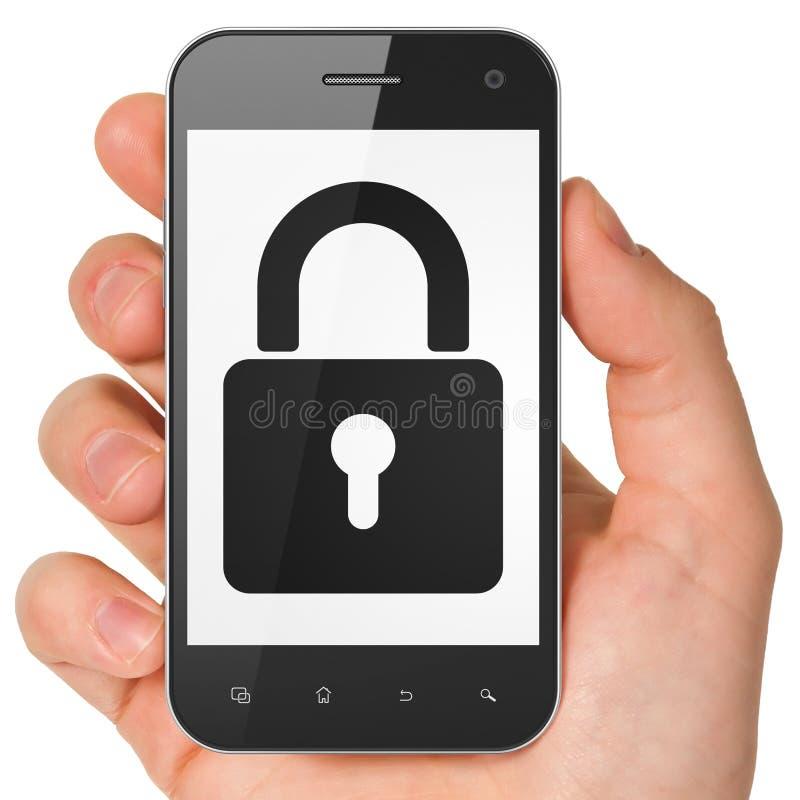 Concept de l'information : Cadenas fermé sur le smartphone illustration libre de droits
