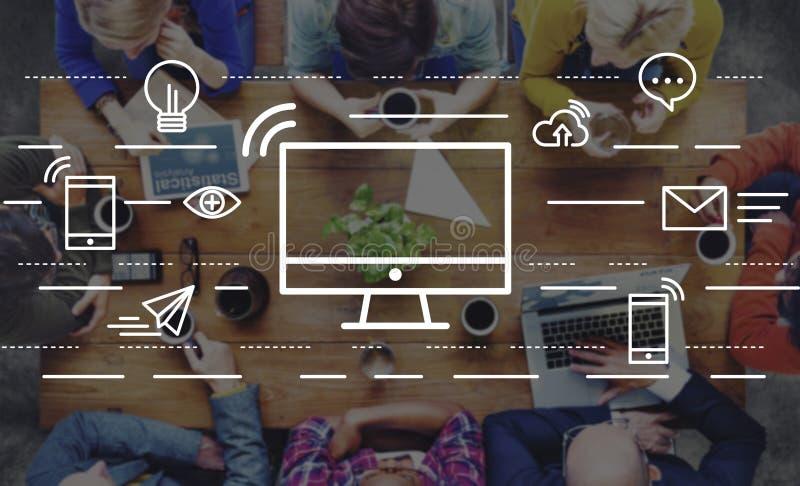 Concept de l'information de technologie de connexion de communication d'ordinateur photographie stock