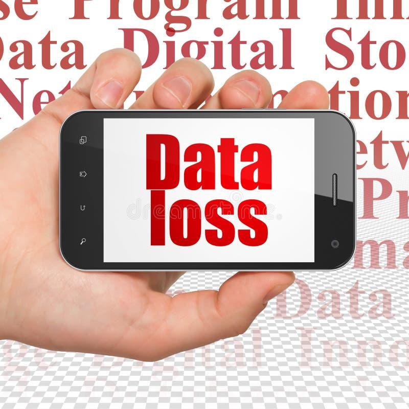 Concept de l'information : Remettez tenir Smartphone avec la perte de données sur l'affichage illustration libre de droits