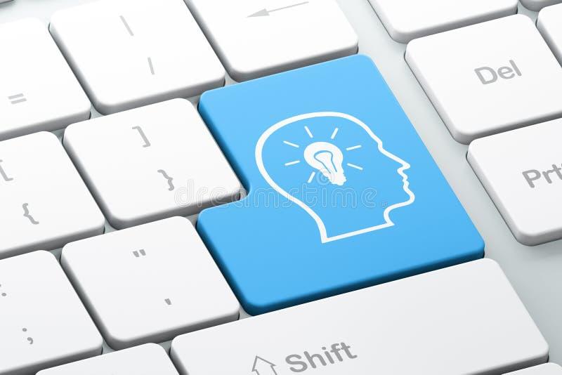 Concept de l'information : Tête avec l'ampoule sur le Ba de clavier d'ordinateur illustration de vecteur