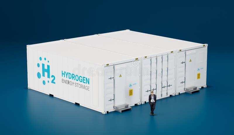 Concept de l'installation mobile de pointe de stockage de l'énergie d'hydrogène faite illustration de vecteur