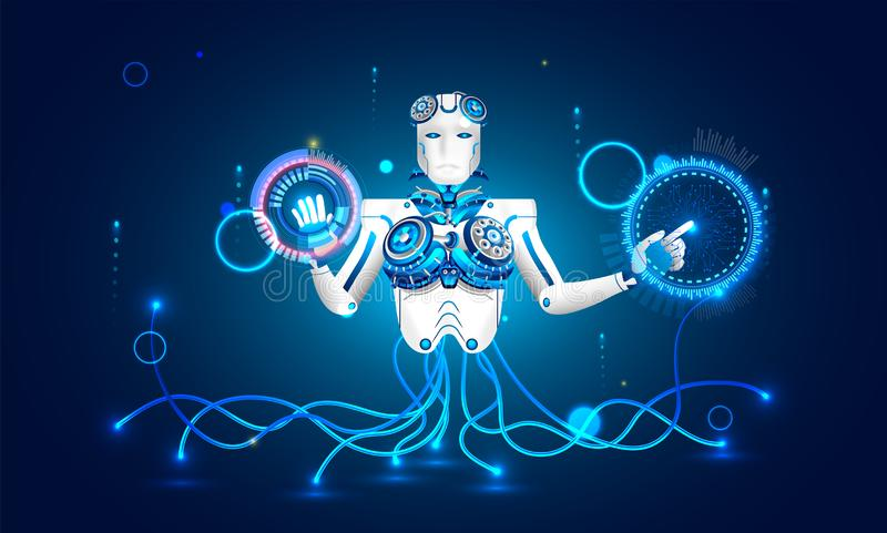 Concept de l'intelligence artificielle (AI), illustration de humanoïde illustration stock