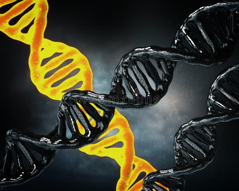 Concept de la biochimie avec la molécule d'ADN sur le fond bleu illustration de vecteur