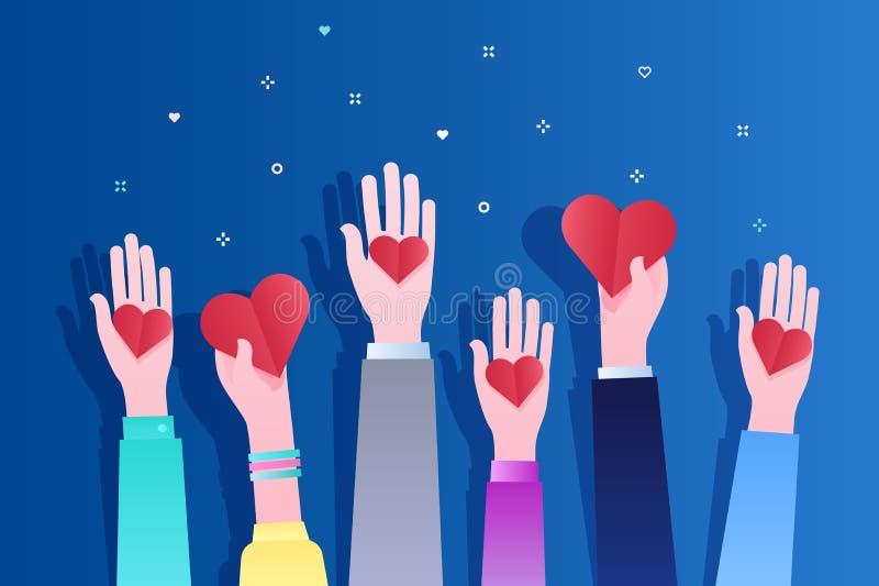 Concept de la charité et de la donation Donnez et partagez votre amour aux gens illustration stock