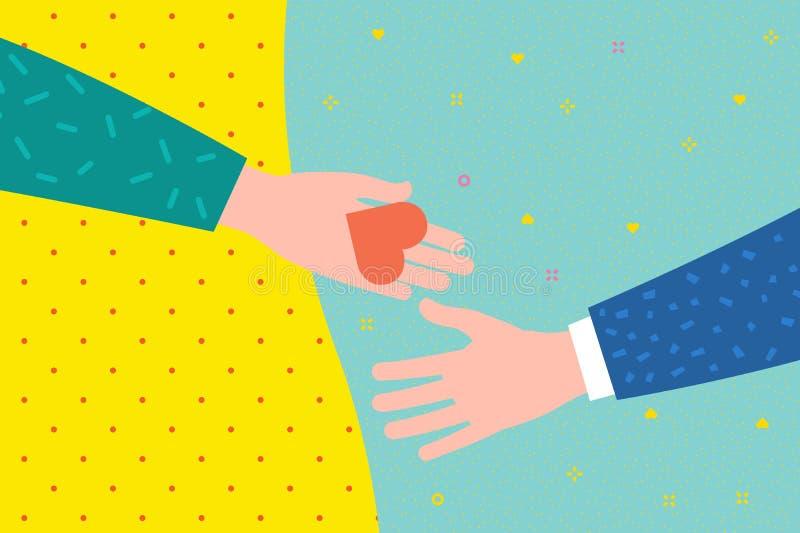 Concept de la charité et de la donation Donnez et partagez votre amour aux gens illustration de vecteur