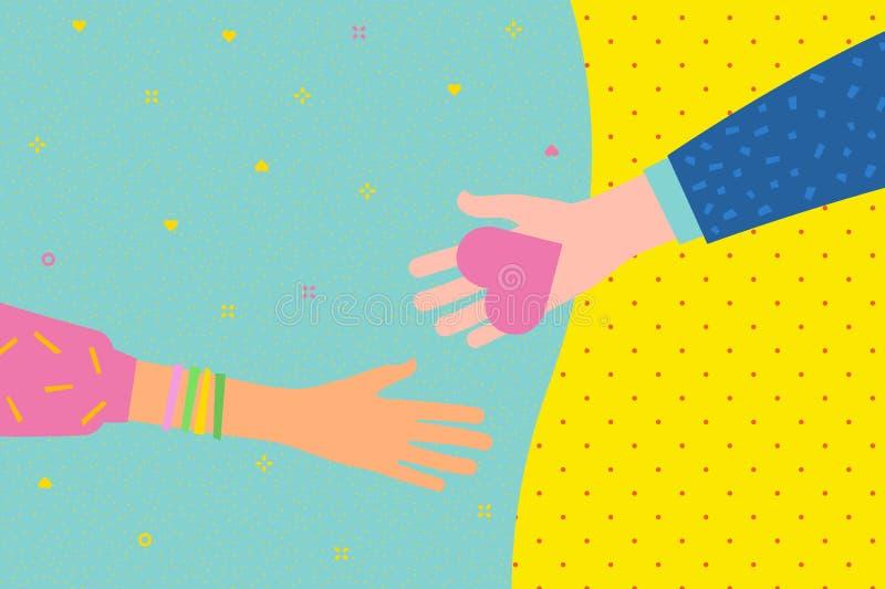 Concept de la charité et de la donation Donnez et partagez votre amour aux gens illustration libre de droits