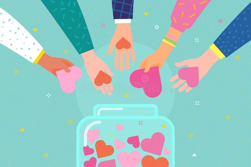 Concept de la charit? et de la donation Donnez et partagez votre amour aux gens illustration stock