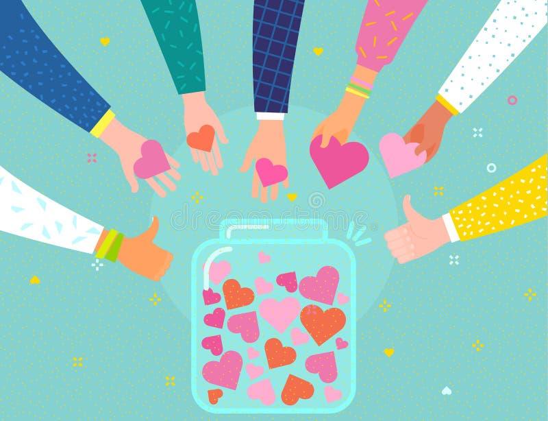 Concept de la charit? et de la donation Donnez et partagez votre amour aux gens illustration libre de droits