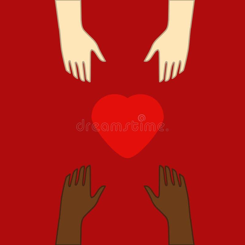 Concept de la charit? et de la donation Donnez et partagez votre amour aux gens Plusieurs personnes tiennent le grand synbol de c illustration libre de droits