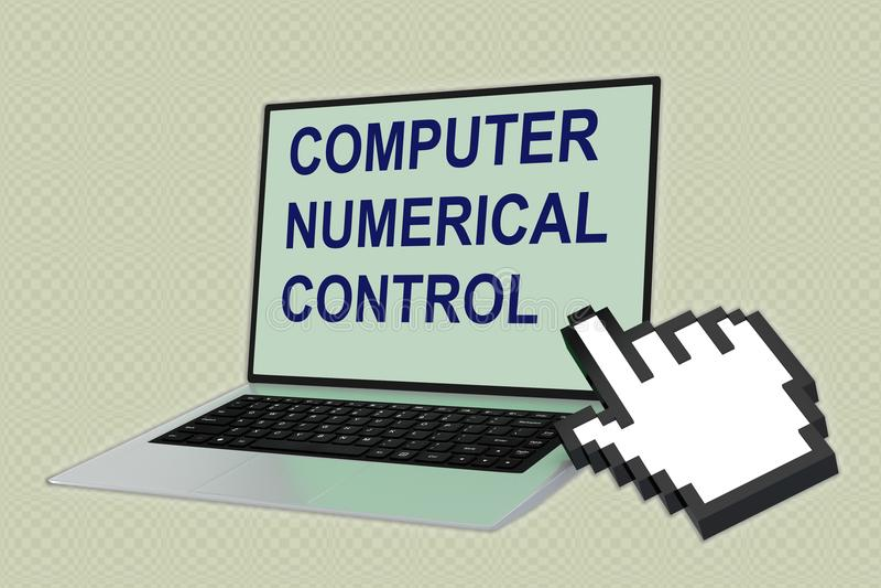 Concept de la COMMANDE NUMÉRIQUE d'ORDINATEUR (commande numérique par ordinateur) illustration stock