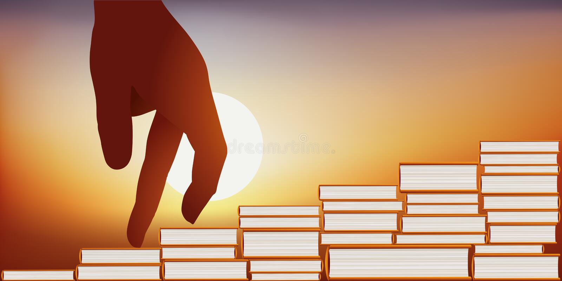 Concept de la connaissance avec une main montrant un escalier fait de livres empilés illustration libre de droits