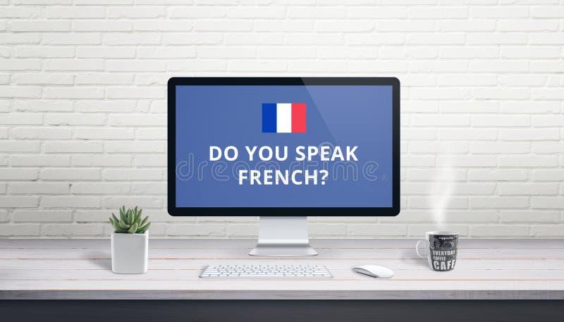 Concept de la connaissance des langues françaises en ligne Interrogez vous parlent français avec le drapeau français image libre de droits