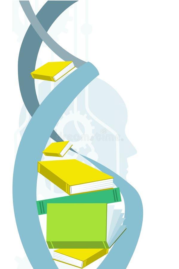 Concept de la connaissance et d'identité Spirale d'ADN, tête humaine, et vitesses Illustration de Vectar illustration libre de droits