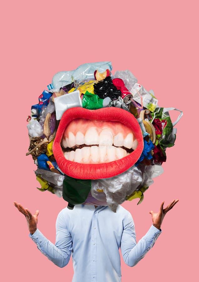 Concept de la connaissance Les sacs de déchets est dans la coupe de la tête sur un fond blanc L'information inutile illustration de vecteur