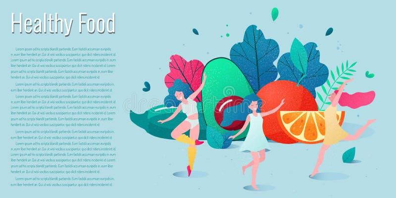 Concept de la consommation saine, illustration de vecteur de mode de vie photo stock