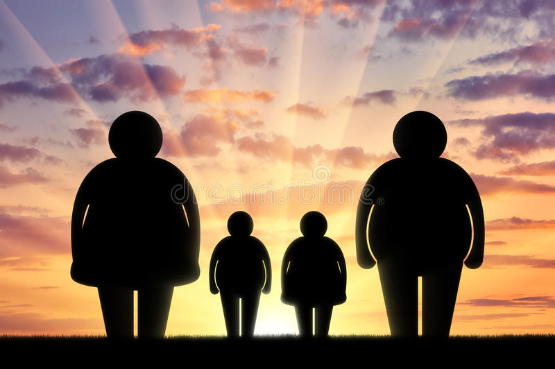 Concept de la famille d'obésité illustration stock