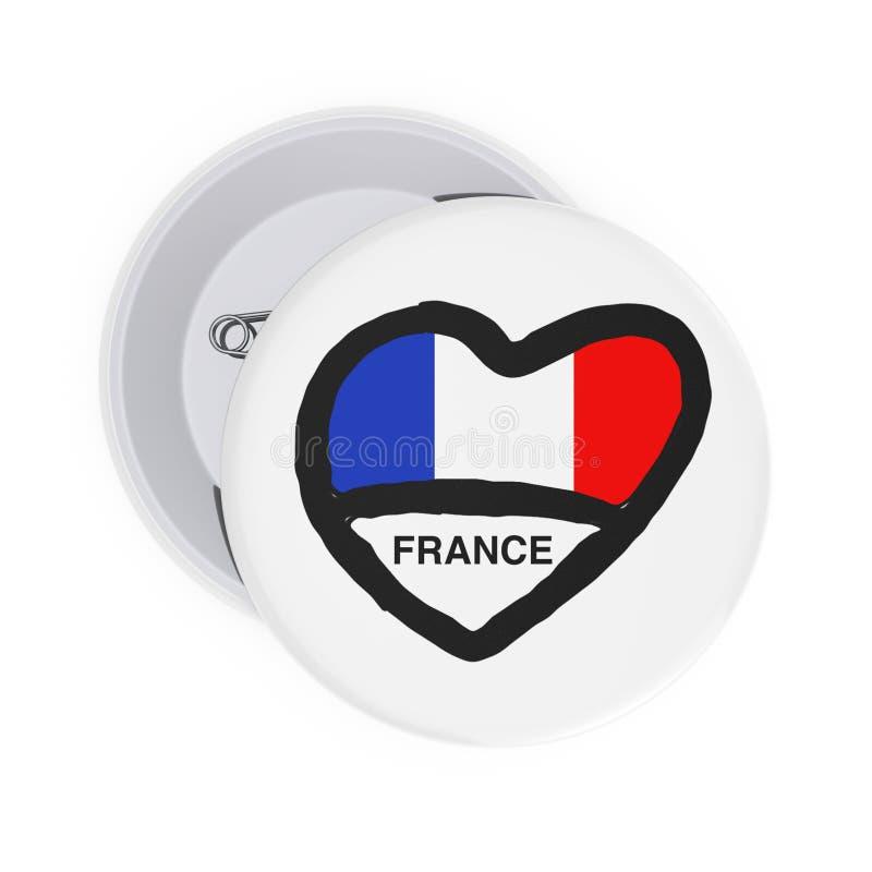 Concept de la France d'amour Pin Badges blanc avec le coeur, le drapeau de la France et le signe rendu 3d illustration stock